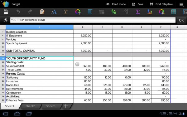 Polaris Office Spreadsheet