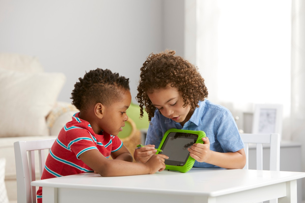 kids learning on a tablet