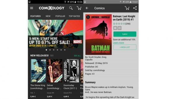 comiXology comic reading app