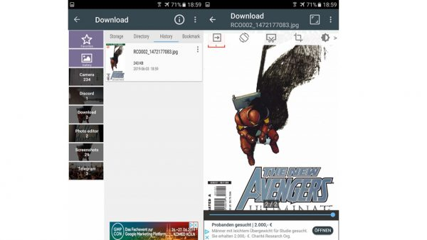 reading comics on a tablet